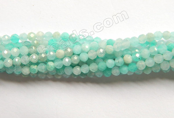 Multi Amazonite A  -  Small Faceted Round Beads  16""