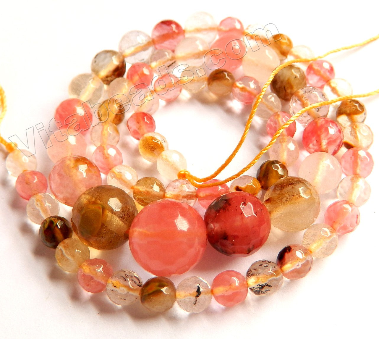 Mixed Fire Cherry Quartz  -  Graduated Faceted Round Beads 16""