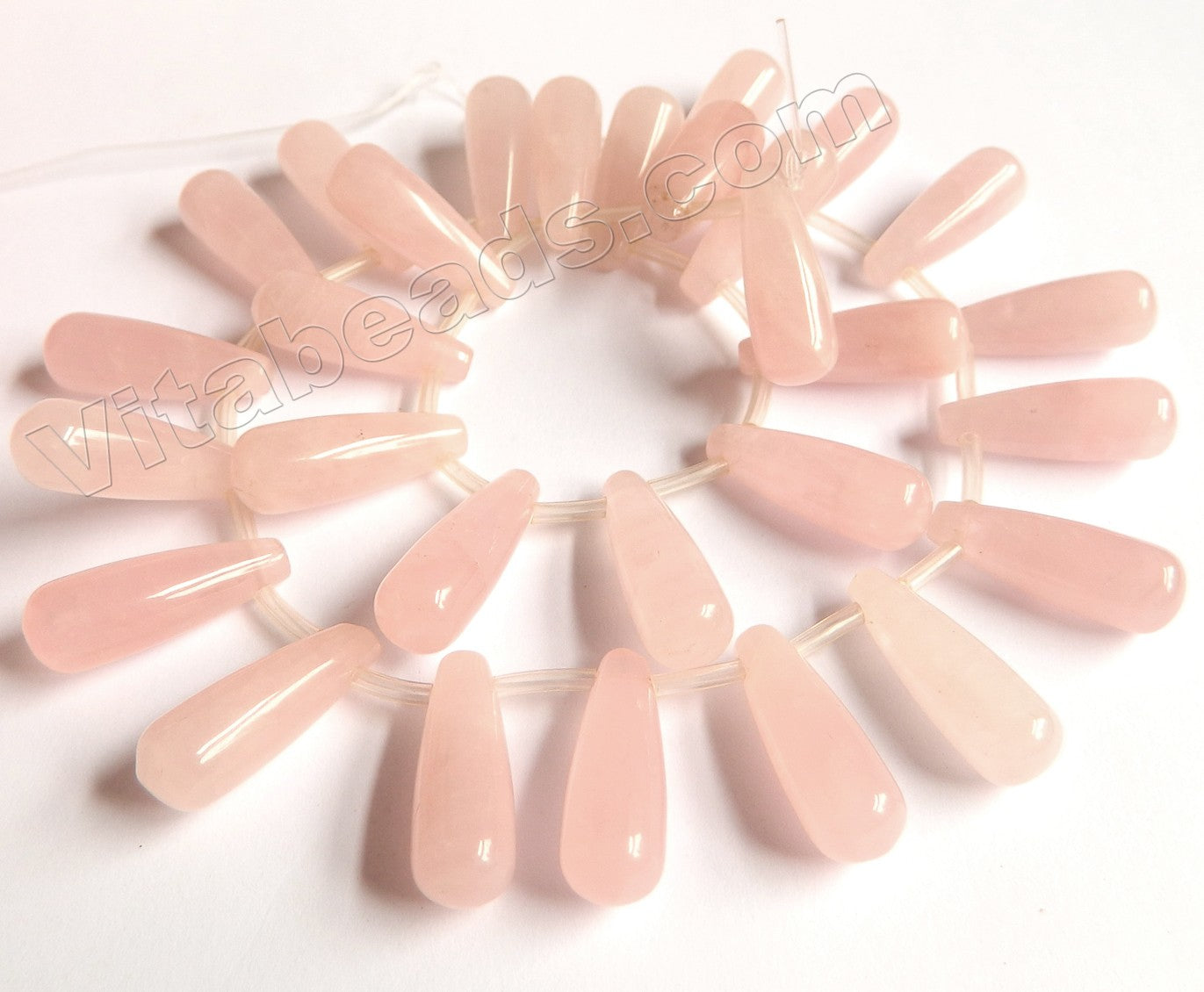 Rose Quartz  -  Smooth Long Teardrops Top Drilled 16""