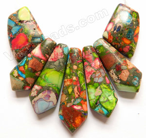 Rainbow Prase Jasper  -  5-Piece Slab Set Pendant