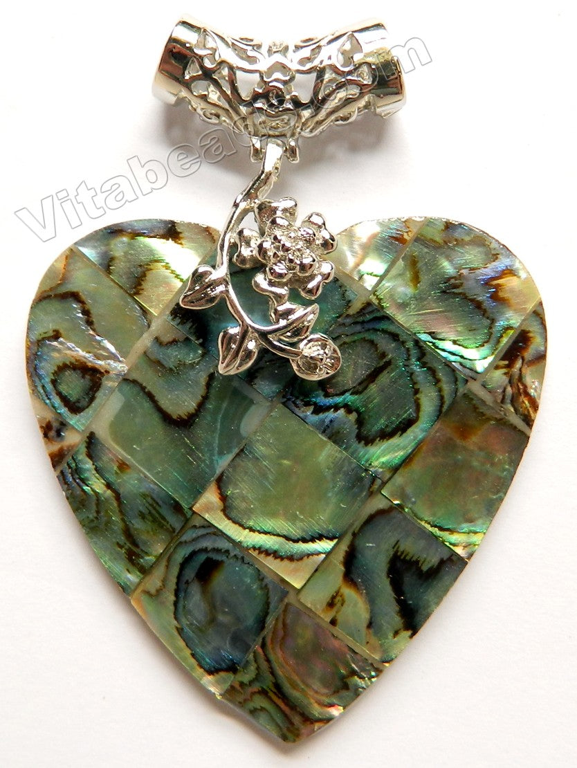 Abalone Pendant  -  Big Heart w/ Silver Flower Bail