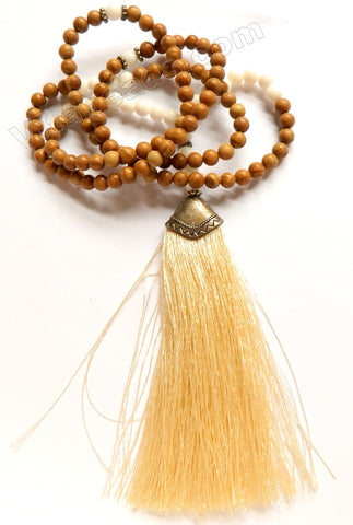 Wooden Jasper Long Chained Cream Tassel Necklace