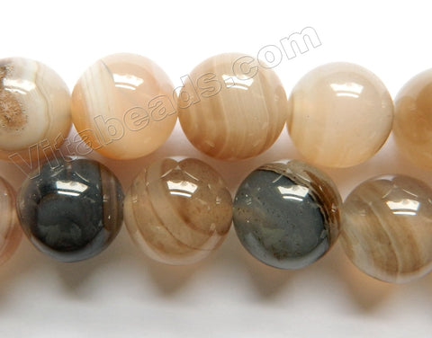 Grey Brown Sardonix Agate  -  Smooth Round Beads  16""