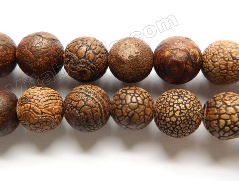 Frosted Antique Walnut Agate  -  Smooth Round Beads  16""