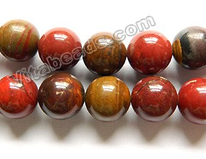 Red Tiger Iron Jasper AA  -  Smooth Round Beads  15.5""