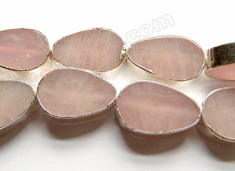 Rose Quartz  -  Silver Edged Thick Flat Drops  13""