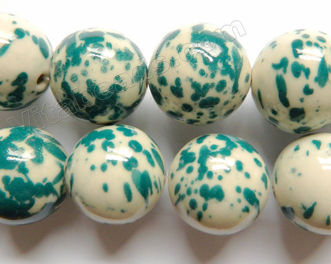 White Porcelain w/ Painted Turquoise Spot -   Big Round Beads  16""