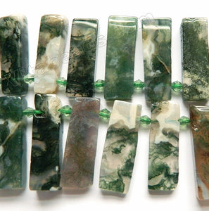 Moss Agate A  -  Top-drilled Long Rectangle Slabs w/ Spacer 16""