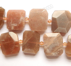 Red Moonstone Natural A  -  Center Drilled Faceted Rectangles w/ Spacer  16""