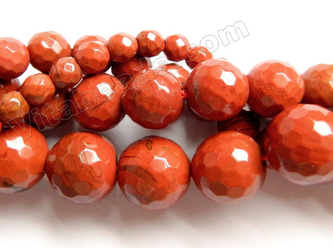 Red Jasper AA  -  Faceted Round Beads  15.5""