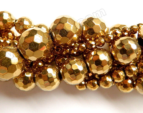 Gold Hematite  -  Faceted Round 16""