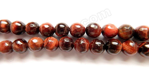 Red Tiger Eye  -  Faceted Round  16""