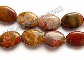 Dark Fire Impression Jasper  -  Puff Ovals  16""