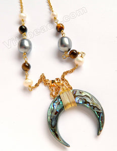 Gold Stainless Steel Chain Abalone Horn Pendant w/ Pearl Design Long Necklace