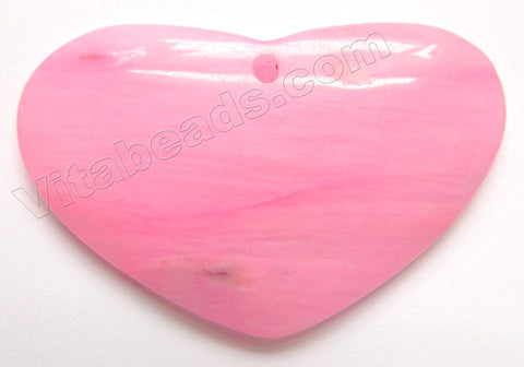 Smooth Pendant  -  Flat Heart    Pink Fuchsia Agate