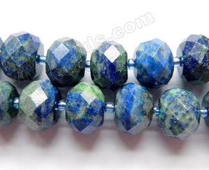 Azurite Malachite Natural A  -  Big Faceted Rondels  16""
