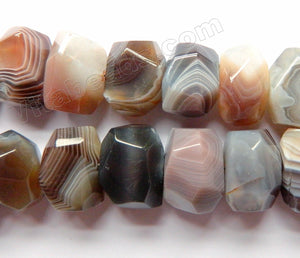Botswana Agate AAA  -  Center Drilled Machine Cut Roundel Tumble  16""