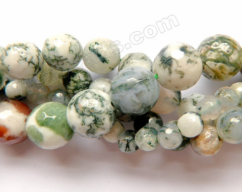 Moss Agate A  -  Faceted Round  16""