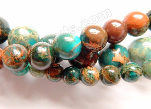 Dark Amazonite Brown Impression Jasper A  -  Smooth Round Beads  16""