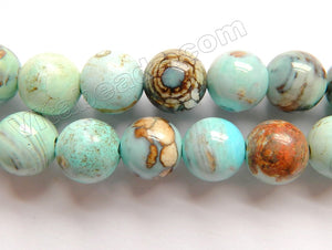 Aqua Ocean Impression Jasper A  -  Smooth Round Beads  15""