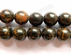 Gold Striped Black Obsidian A  -  Smooth Round Beads  16""