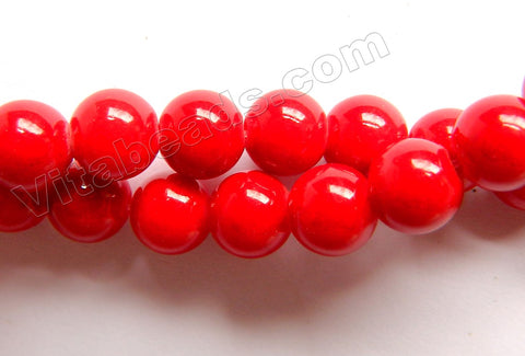 Xmas Red Jade - Smooth Round Beads  16""