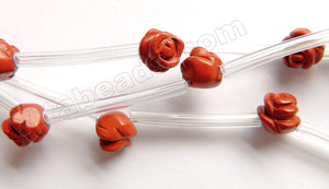 Red Jasper A -  Carved Rose Flower Beads  16""