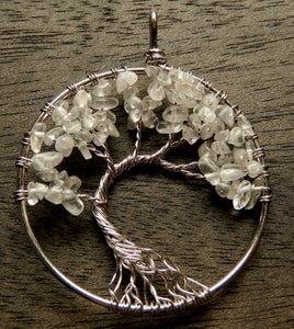 Crystal  - Chips Wired Tree Round Pendant Style B