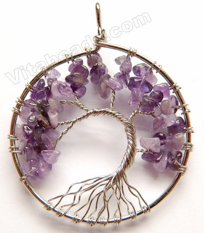 Amethyst - Chips Wired Tree Round Pendant Style B
