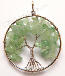Green Aventurine - Chips Wired Tree Round Pendant Style B