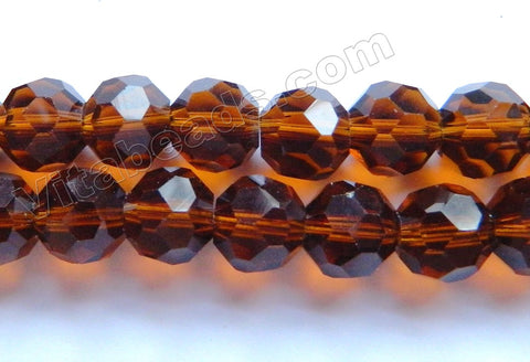 Dark Amber Brown Crystal  -  Faceted Round  16""