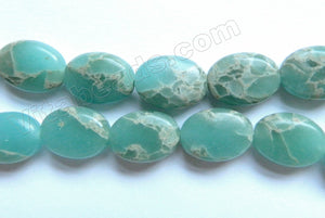 Light Amazonite Impression Jasper  -  Puff Ovals 16""