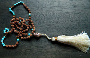Turquoise Vajra Bodhi Extra Long Chained Tassel Necklace w/ Rose Gold Buddha Head