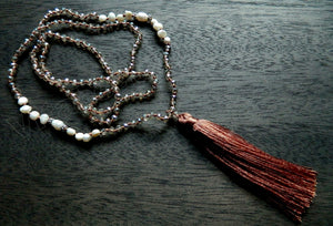 Long Chained Tassel Necklace w/ Smoky Crystal &. FWP