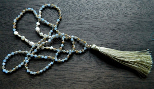 Long Chained Tassel Necklace w/ Blue Brown Crystal &. FWP