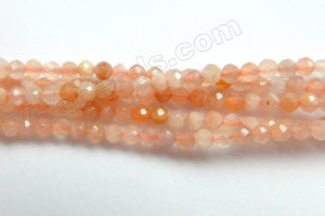 Pink Moonstone Natural A  -  Small Faceted Round  15""