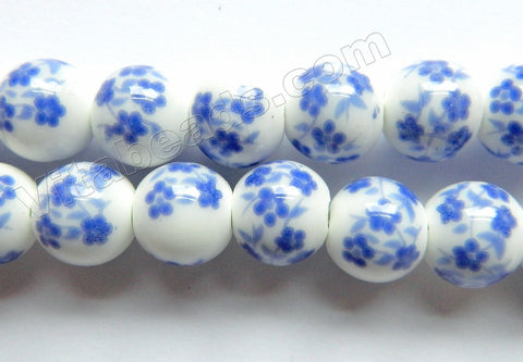Porcelain Beads - White w/ Light Blue Cherry Smooth Round Beads  13""