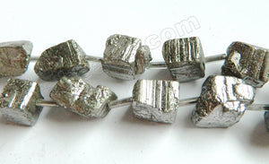 Pyrite Rough  -  Irregular Cube Nuggets w/ Spacer  16""