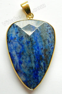 Pendant - Faceted Point Long Drop w Gold Bail Lapis Lazuli