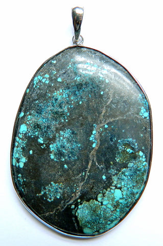 Fine Sterling Silver & Genuine Turquoise Pendant - 1195