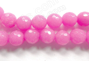 Light Pink Fuchsia Mashan Jade  -  Faceted Round  16""