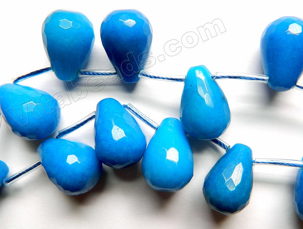 Bright Blue Jade - 13x18mm Faceted Teardrop