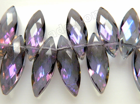 Mystic Purple Peacock Crystal   -  Faceted Marquise Top Drilled  6""