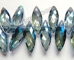 Mystic London Blue Crystal   -  Faceted Marquise Top Drilled  6""