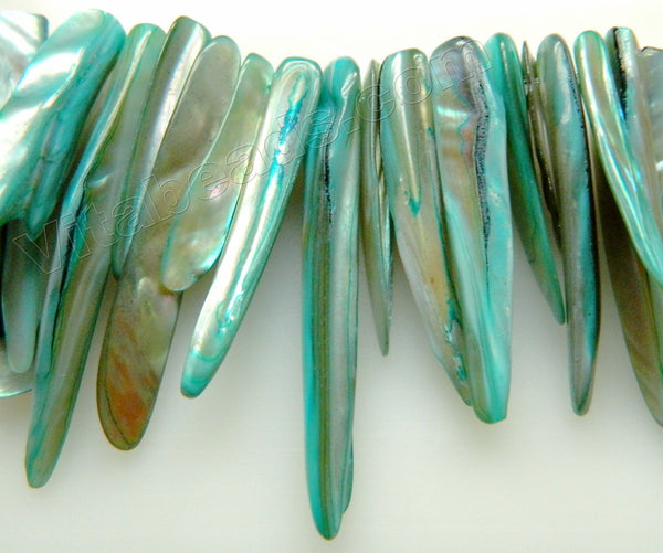 MOP Shell  -  Turquoise Blue  -  Graduated Long Sticks 7""
