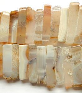 Natural Warm Agate - Thin Graduated Top-drilled Long Rectangle Slabs  16""