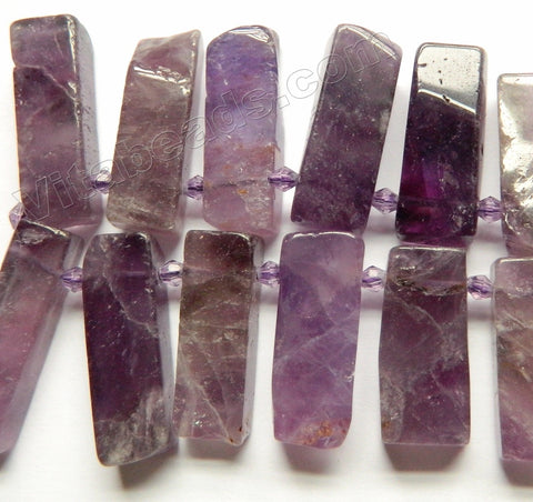 Amethyst AB -  Graduated Flat Long Rectangles Top Drill  16""