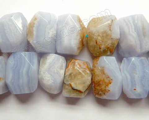 Blue Chalcedony w/ Brown Natural AA  -  Center Cut Faceted Tumble 16""