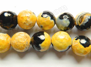 Lemon Yellow Black Mixed Fire Agate  -  Faceted Round  15""