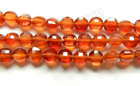 Orange Garnet Natural AAA  -  Small Faceted Coins Diamond Cut  16""